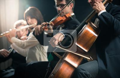 Naklejka Koncert muzyki klasycznej: orkiestra symfoniczna na scenie