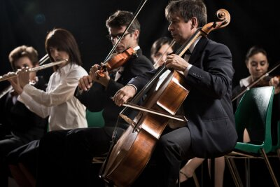 Koncert muzyki klasycznej: orkiestra symfoniczna na scenie