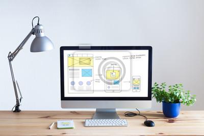Naklejka Konstrukcja szkicu na stronie internetowej komputera