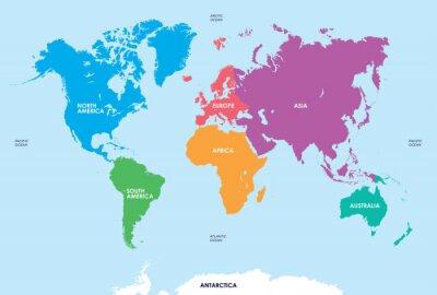 Naklejka Kontynentach świata, Mapa