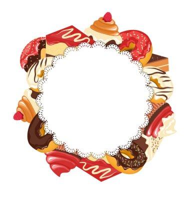 Naklejka Koronka ramki z słodyczy na białym tle