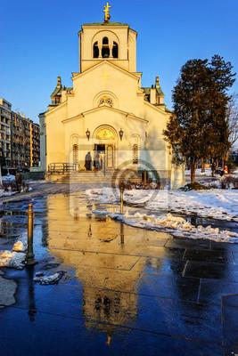 Kościół Świętego Sawy na zachodzie słońca, Belgrad, Serbia