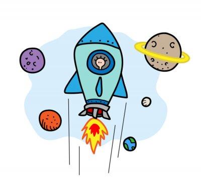 Naklejka Kosmiczna podróż, ręcznie rysowane ilustracji wektorowych z latania rakiet kosmicznych, wszystkie obiekty są na oddzielnych grup dla łatwej edycji (w tym tle).