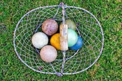 Kosz kolorowe krokietowe piłki na gazonie