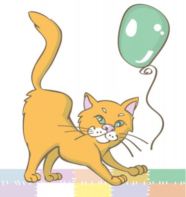 Naklejka Kot imbir i balon