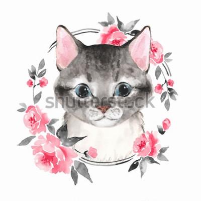 Naklejka Kot. Śliczna figlarka i kwiaty. Malarstwo akwarelowe