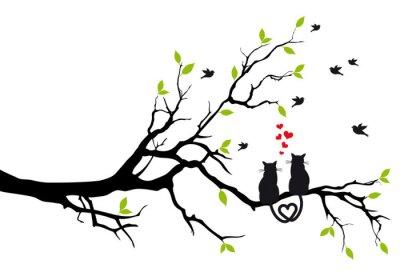Naklejka kotów w miłości na gałęzi drzewa, wektor