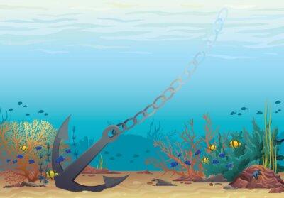 Naklejka Kotwica i Coral Reef. Wektor podwodne.