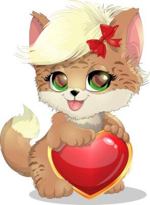 Naklejka koty i serca