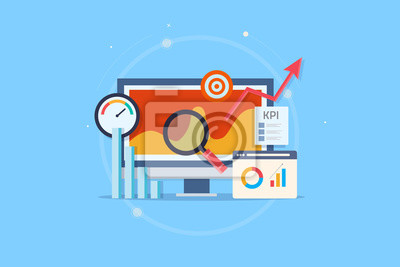 Naklejka Kpi analytic, online data monitoring, key performance indicator, business success measurement, intelligent marketing metrics. Flat design vector web banner with elements.