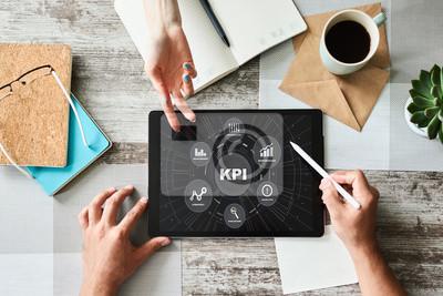 Naklejka KPI - Key performance indicator. Business process efficiency improvement.