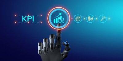 Naklejka KPI Key performance indicator business technology concept. Robotic arm 3d rendering.