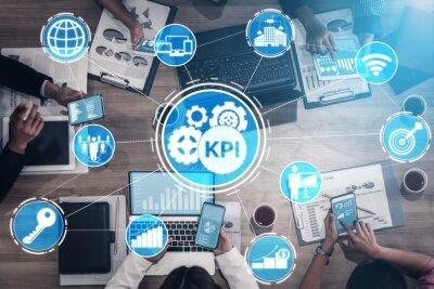 Naklejka KPI Key Performance Indicator for Business Concept - Modern graphic interface showing symbols of job target evaluation and analytical numbers for marketing KPI management.