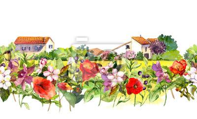 Kraj krajobraz z łąki kwiaty, trawa, zioła. Akwarela kwiatu granicy - idylliczne wiejskie domy sceny. Powtarzanie wzoru paska.
