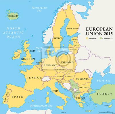 Naklejka Kraje Unii Europejskiej Mapa Polityczna 2015 Na Wymiar