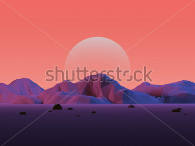 Naklejka Krajobraz górski low-poly z księżycem