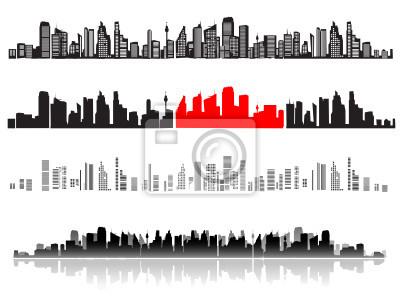 Naklejka Krajobraz miasta, sylwetki domów czarny