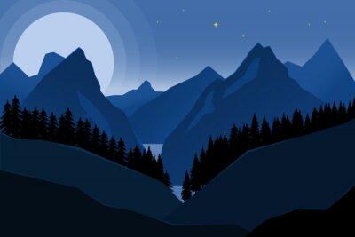 Krajobraz nocy góry w mieszkanie stylu. Element projektu na plakat, baner.