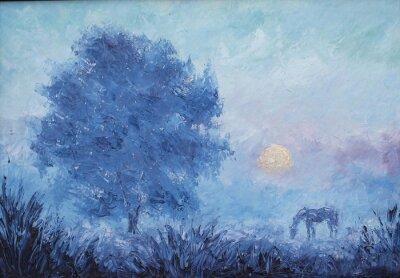 Naklejka krajobrazu wiejskiego, wczesnym mglisty poranek, drzewo, koń