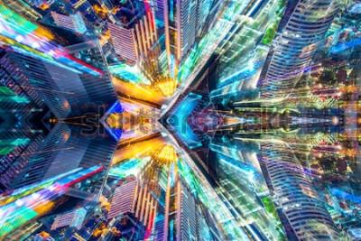 Naklejka Kreatywnie graficzny sci fi miasta abstrakcjonistyczny nowożytny tło.