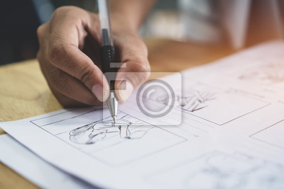 Naklejka Kreowanie scenorysów lub opowiadanie kreacji do procesu filmowego scenariusz medialny filmów przedprodukcyjnych dla edytorów wideo, ręczny organizator graficzny do pisania w formie ilustracji wyświetl