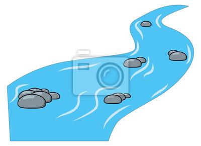 Naklejka Kreskówka strumyk, rzeka odizolowywająca na białym tle