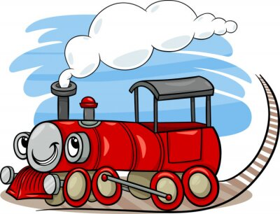 Naklejka kreskówkowy charakter silnika lokomotywy lub