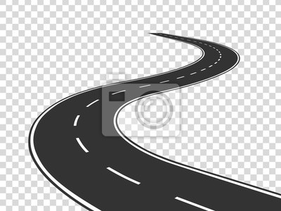 Naklejka Kręta droga. Podróż zakrzywiona autostrada. Droga do horyzontu w perspektywie. Uzwojenie asfaltu pusta linia na białym tle wektor koncepcji