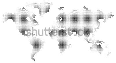Naklejka Kropkowana mapa świata