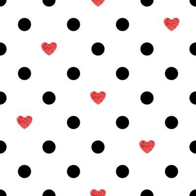 Naklejka Kropkowany wzór z czerwonych serc. Romantyczny tła.