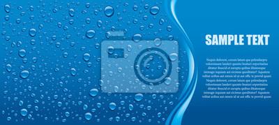 Naklejka Krople wody niebieskie tło