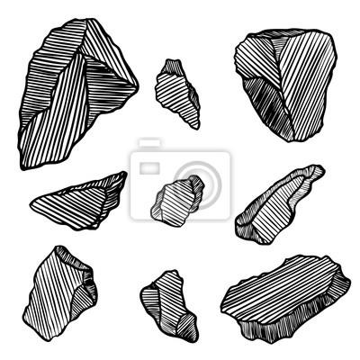 Naklejka Kryształy, klejnoty kamienie i kamienie. Ziemia magiczne elementy święte. Zestaw kolekcja szkicowych minerałów i ręcznie rysowane kryształów kamieni i skał. Wektor.