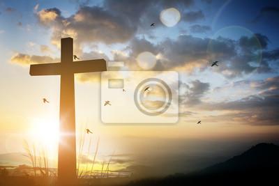 Naklejka Krzyż na rozmyte tło słońca.