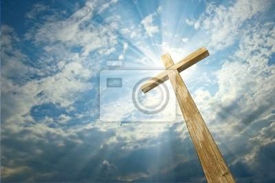 Naklejka krzyż na tle nieba