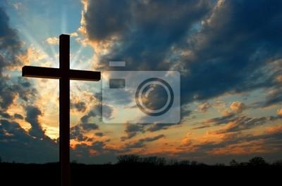 Naklejka krzyż na zachodzie słońca