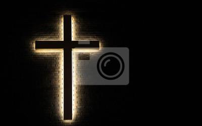 Naklejka Krzyż oświetlone tło. Podświetlany krzyż na tle ceglanego z miejsca kopiowania.
