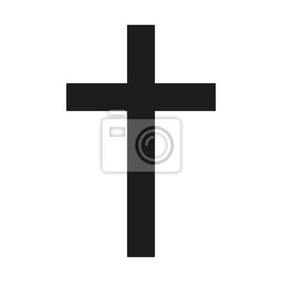 Naklejka Krzyża łacińskiego Ikona czarna sylwetka. Starożytny Christian znak. ilustracji wektorowych.