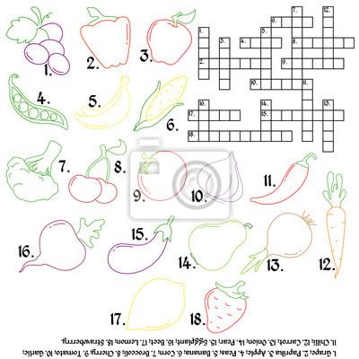 Krzyżówka Z Warzywami I Owocami Gra Edukacyjna Warzywa I Owoce Naklejki Redro