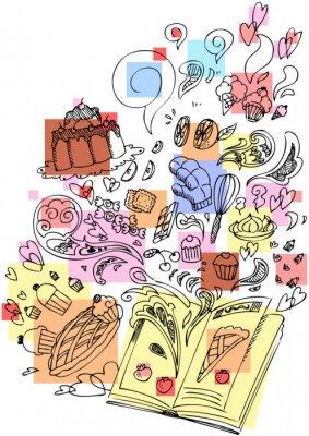 Naklejka Książka pobieżny deser doodle gotowanie