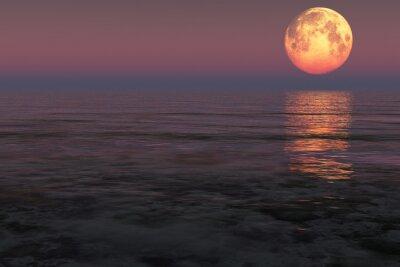Naklejka Księżyc nad morzem