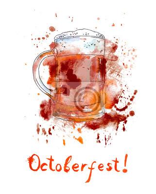 Kufel piwa na Octoberfest. Akwarela z kropli i plusk
