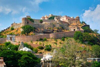 Naklejka Kumbhalgarh fort famous indian tourist landmark. Rajasthan, India