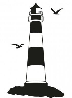 Naklejka Küstenlandschaft Leuchtturm Silhouette Möwen