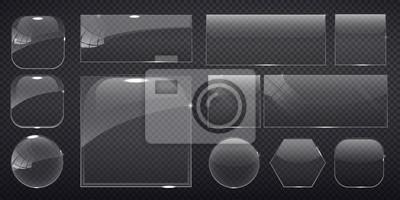 Naklejka kwadratowych szkła, prostokątne i okrągłe przyciski na jej tle. ilustracji wektorowych.