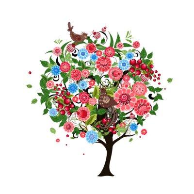 Naklejka Kwiat abstrakcyjna drzewa z ptaków