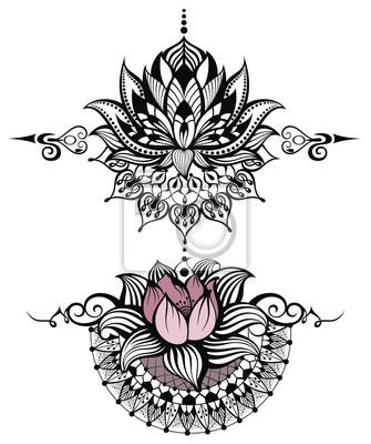 Naklejka Kwiat Lotosu Zestaw Na Wymiar Czarny Tło Projekt Redropl