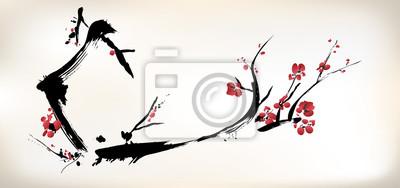 Naklejka kwiat malarstwo