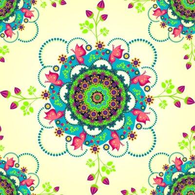 Naklejka Kwiat mandali i motyle