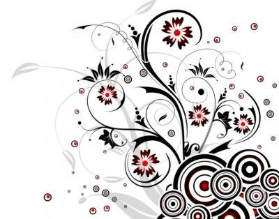 Naklejka Kwiat tła z okręgu, element projektu, ilustracji