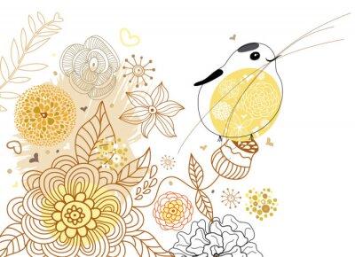Naklejka Kwiat tła z ptakiem